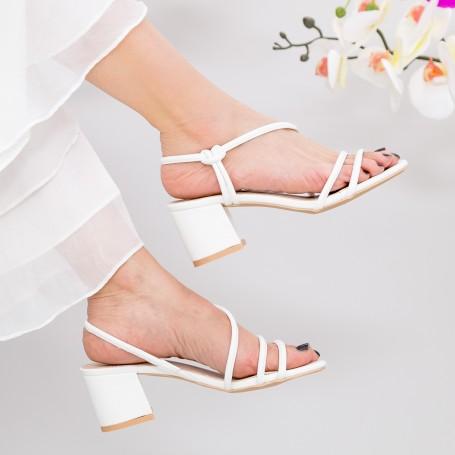 Sandale Dama cu Toc gros YBS77 White Mei