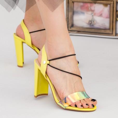 Sandale Dama cu Toc gros XKK226 Yellow Mei