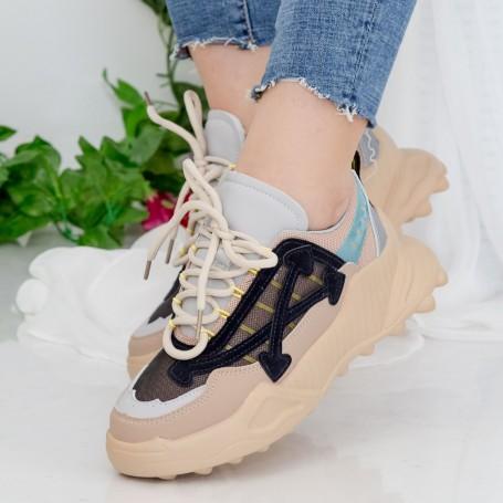 Pantofi Sport Dama cu Platforma 196 PSDP Beige Mei
