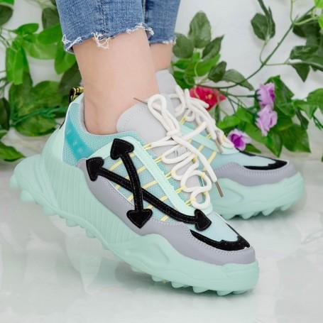 Pantofi Sport Dama cu Platforma 196 PSDP Light Green Mei