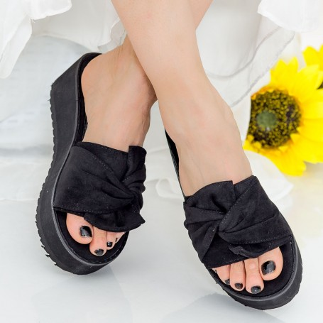 Papuci Dama cu Platforma CZMY1 Black Mei