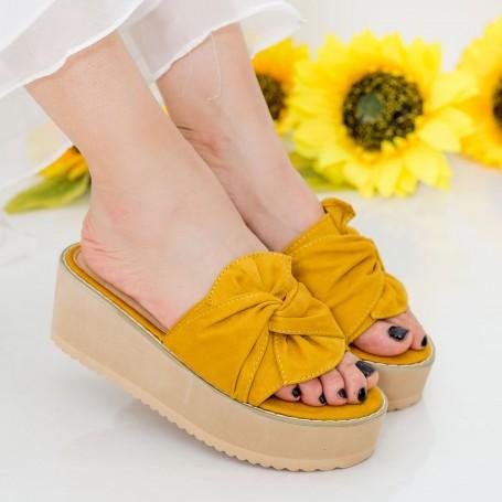 Papuci Dama cu Platforma CZMY1 Yellow Mei