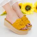 Papuci Dama cu Platforma CZMY1 Yellow (013) Mei