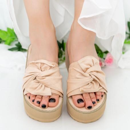Papuci Dama cu Platforma CZMY1 Beige Mei