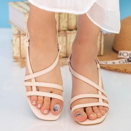 Sandale Dama cu Toc subtire GH1951 Beige Mei