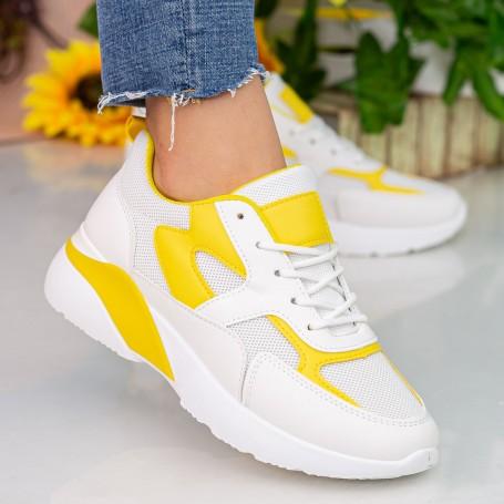 Pantofi Sport Dama cu Platforma GB77 White-Yellow Mei