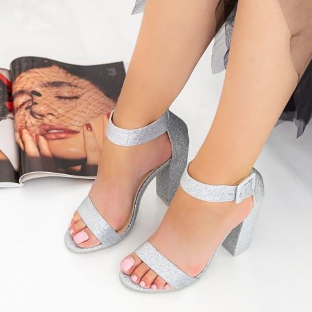 Sandale Dama cu Toc gros XKK161B Silver Mei