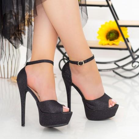 Sandale Dama cu Toc subtire si Platforma XKK207A Black Mei