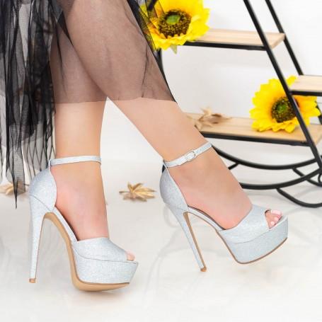 Sandale Dama cu Toc subtire si Platforma XKK207A Silver Mei