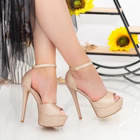 Sandale Dama cu Toc subtire si Platforma XKK207A Champagne Mei