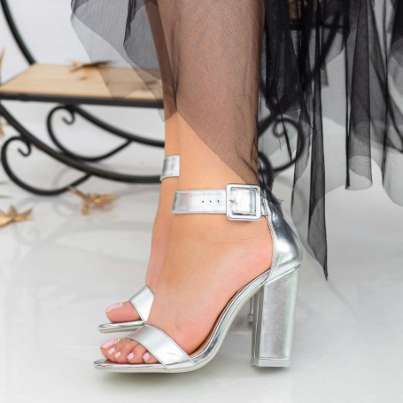 Sandale Dama cu Toc gros XKK161A Silver Mei
