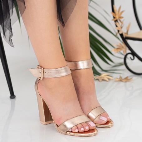 Sandale Dama cu Toc gros XKK161A Champagne Mei