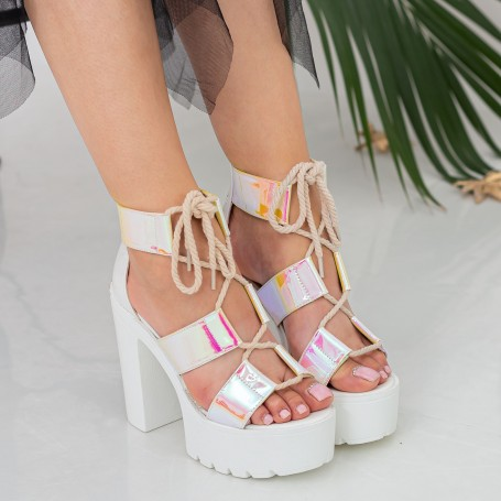 Sandale Dama cu Toc gros si Platforma XKK202 Pink Mei