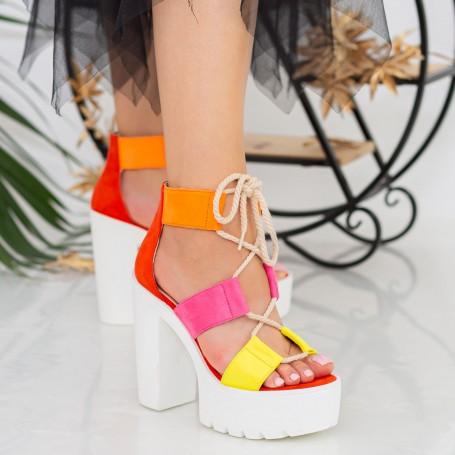 Sandale Dama cu Toc gros si Platforma XKK202 Color Mei