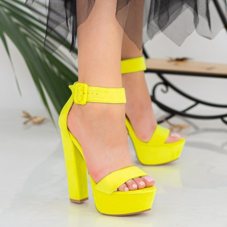 Sandale Dama cu Toc gros si Platforma XKK208 Yellow Mei