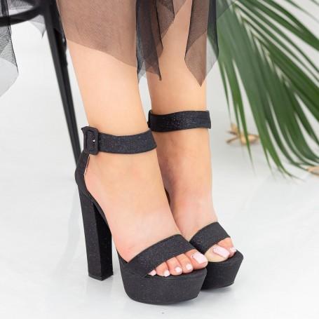 Sandale Dama cu Toc gros si Platforma XKK208A Black Mei