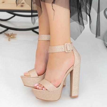 Sandale Dama cu Toc gros si Platforma XKK208A Champagne Mei