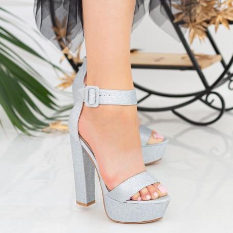 Sandale Dama cu Toc gros si Platforma XKK208A Silver Mei