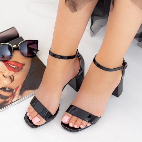 Sandale Dama cu Toc gros XKK228 Black Mei