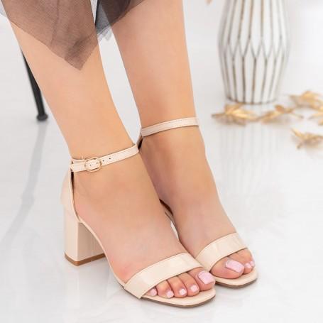 Sandale Dama cu Toc gros XKK228 Nude Mei