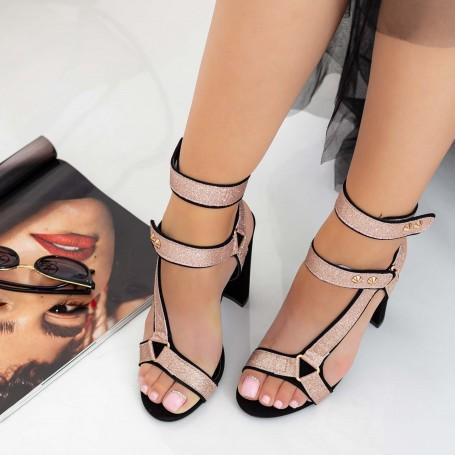 Sandale Dama cu Toc gros XKK235A Champagne Mei