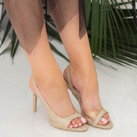 Sandale Dama cu Toc subtire GH1958 Gold Mei
