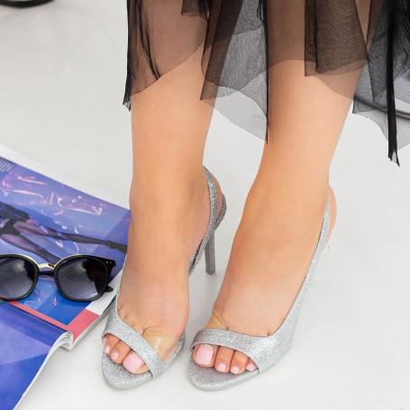 Sandale Dama cu Toc subtire GH1958 Silver Mei