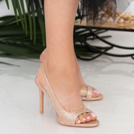 Sandale Dama cu Toc subtire GH1958 Champagne Mei