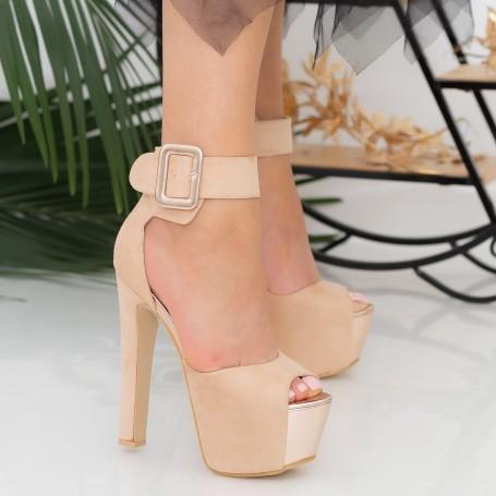 Sandale Dama cu Toc gros si Platforma HLX82 Pink Mei
