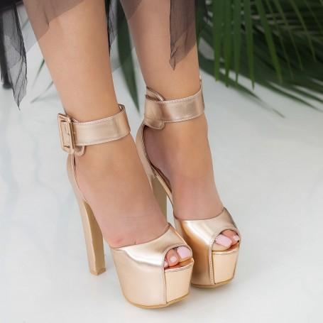 Sandale Dama cu Toc gros si Platforma HLX82 Champagne Mei