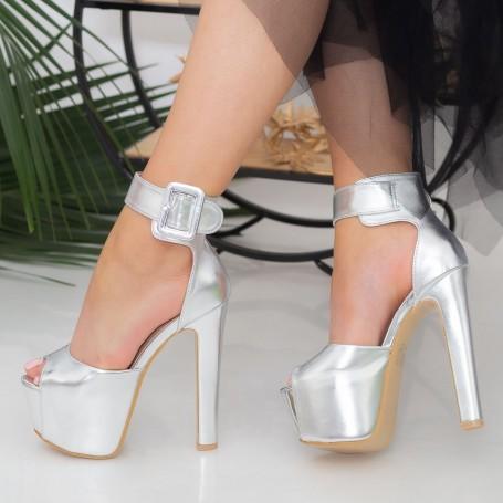 Sandale Dama cu Toc gros si Platforma HLX82 Silver Mei