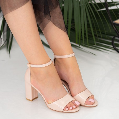 Sandale Dama cu Toc gros RG1 Nude Mei