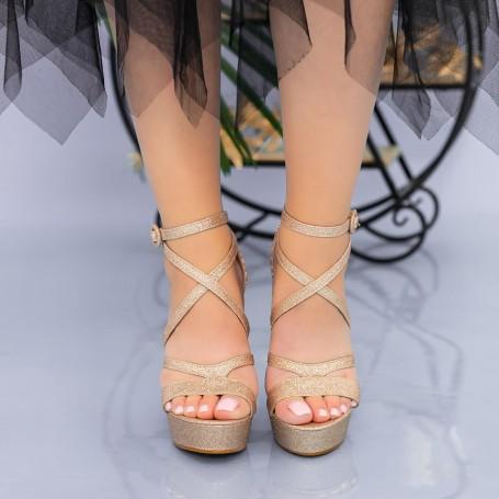 Sandale Dama cu Toc gros si Platforma XDB283A Champagne Mei