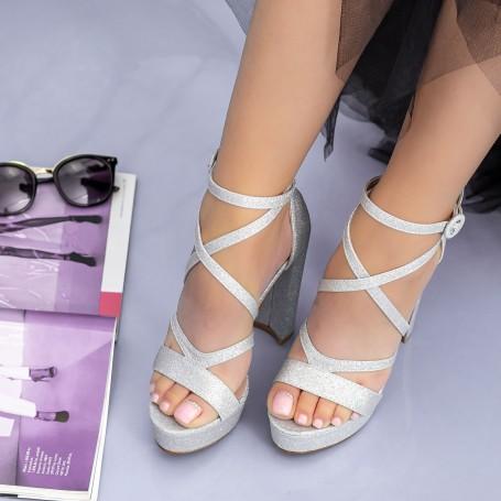 Sandale Dama cu Toc gros si Platforma XDB283A Silver Mei