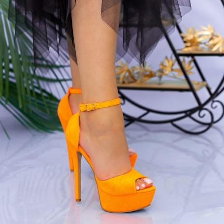 Sandale Dama cu Toc subtire si Platforma XKK207 Orange Mei