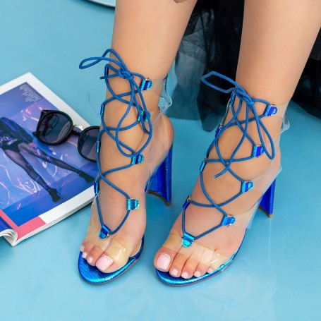 Sandale Dama cu Toc gros XKK213 Blue Mei