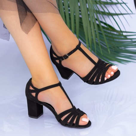 Sandale Dama cu Toc gros XKK227 Black Mei