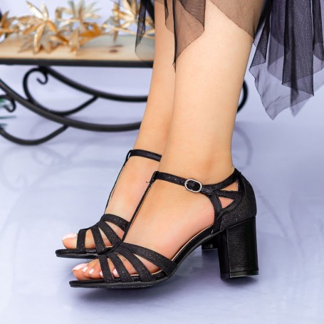 Sandale Dama cu Toc gros XKK227A Black Mei