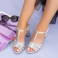 Sandale Dama cu Toc gros XKK227A Silver (M12) Mei