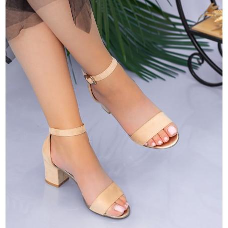Sandale Dama cu Toc gros XKK237 Nude Mei