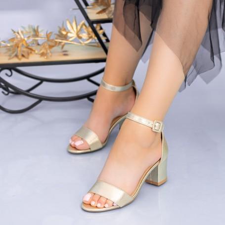Sandale Dama cu Toc gros XKK237 Gold Mei
