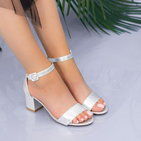 Sandale Dama cu Toc gros XKK237 Silver Mei