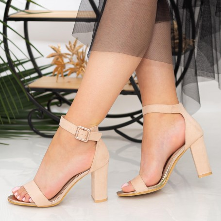 Sandale Dama cu Toc gros YXD10 Nude Mei