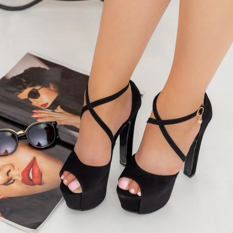 Sandale Dama cu Toc gros si Platforma HLX72 Black Reina