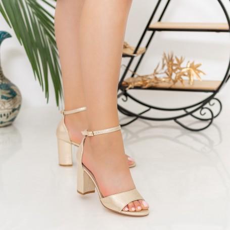 Sandale Dama cu Toc gros RG1A Gold Reina