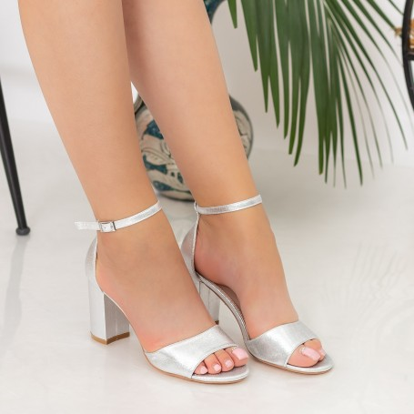 Sandale Dama cu Toc gros RG1A Silver Reina