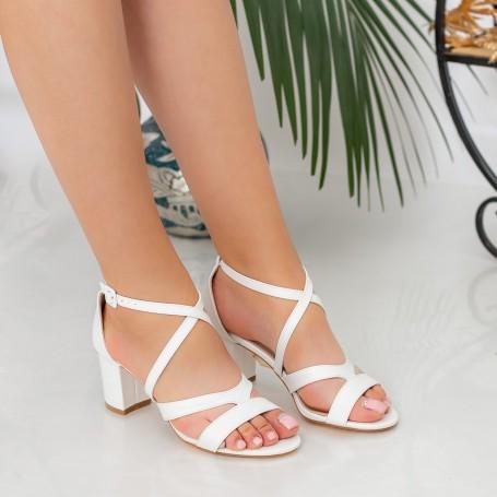 Sandale Dama cu Toc gros XDR275 White Reina