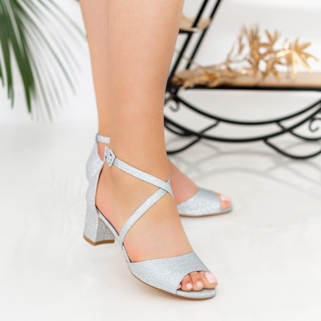 Sandale Dama cu Toc XDR277A Silver Reina