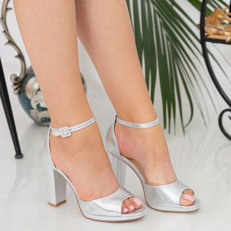 Sandale Dama cu Toc gros XKK223B Silver Reina