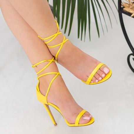 Sandale Dama cu Toc subtire XKK232 Yellow Reina